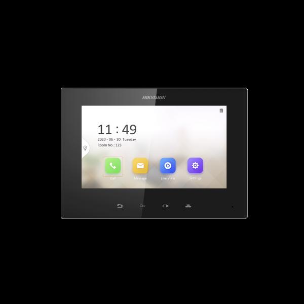 Monitor IP Lite Color NEGRO (No touch) para Videoportero IP / Apertura Remota y Video en Vivo /  PoE Estándar / Principal o Esclavo