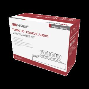 KIT TURBOHD 5 Megapixel / DVR 4 Canales / 4 Cámaras Bala con Micrófono Integrado (exterior 2.8 mm) / Fuente de Poder / Accesorios de Instalación