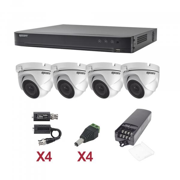KIT TurboHD 1080p / DVR 4 Canales / 4 Cámaras Eyeball (exterior 2.8 mm) / Transceptores / Conectores / Fuente de Poder Profesional