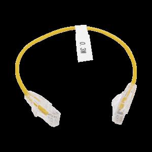 Cable de Parcheo Slim UTP Cat6 - 30 cm Amarillo Diámetro Reducido (28 AWG)