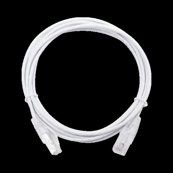 Cable de Parcheo Slim UTP Cat6 - 3 m Blanco Diámetro Reducido (28 AWG)