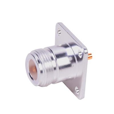 Conector N Hembra para Montaje Frontal en Panel con 4 Perforaciones a 18 mm