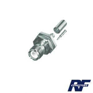 Conector TNC Hembra Inverso para chasis de anillo plegable para cable RG-58/U.