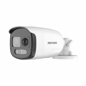 Bala TURBOHD 1080p / Imagen a Color 24/7 / Lente 2.8 mm / Luz Blanca 40 mts / Exterior IP67 / WDR 130 dB / Sensor PIR / Sirena y Salida de Audio Integrada / Estrobo ROJO - AZUL / Micrófono Integrado