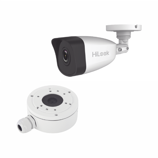 HiLook Series / Bala IP 4 Megapixel / 30 mts IR / Exterior IP67 / PoE / dWDR / Lente 2.8 mm + Caja de Conexión DS-1280ZJ-XS-AX