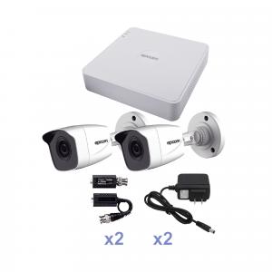 KIT TurboHD 720p / DVR 4 Canales / 2 Cámaras Bala (interior - exterior 2.8 mm) / Hik-Connect
