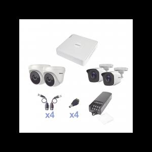 KIT TurboHD 720p / DVR 4 Canales / 2 Cámaras Bala (exterior 2.8 mm) / 2 Cámaras Eyeball (interior 2.8 mm) / Transceptores / Conectores / Fuente de Poder Profesional
