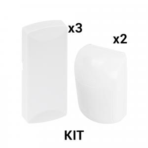 KIT Básico Sensores Inalámbricos - Incluye 3 Contactos Magnéticos y 2 PIR - Compatibles con Honeywell y PRO4GLTEM