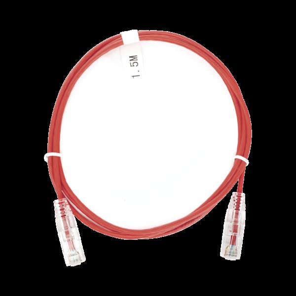 Cable de Parcheo Slim UTP Cat6 - 1.5 m Rojo Diámetro Reducido (28 AWG)