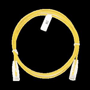 Cable de Parcheo Slim UTP Cat6 - 2 m Amarillo Diámetro Reducido (28 AWG)